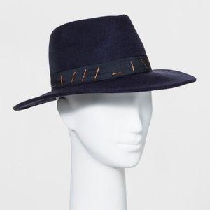 Women's Panama Hat 100% Wool Navy Blue